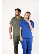 """Blouse médicale Col V Homme, Dickies, 2 poches, Collection """"EDS signature"""" (86706), couleur vert olive, vue modèle ensemble"""