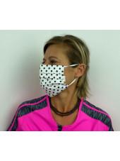 Lot 10 - Masque chirurgical de protection Unisexe motifs pois (MASQ-POIS) vue femme gauche