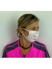 Lot 10 - Masque chirurgical de protection Unisexe motifs rond rose (MASQ-RONDROSE) vue femme 2