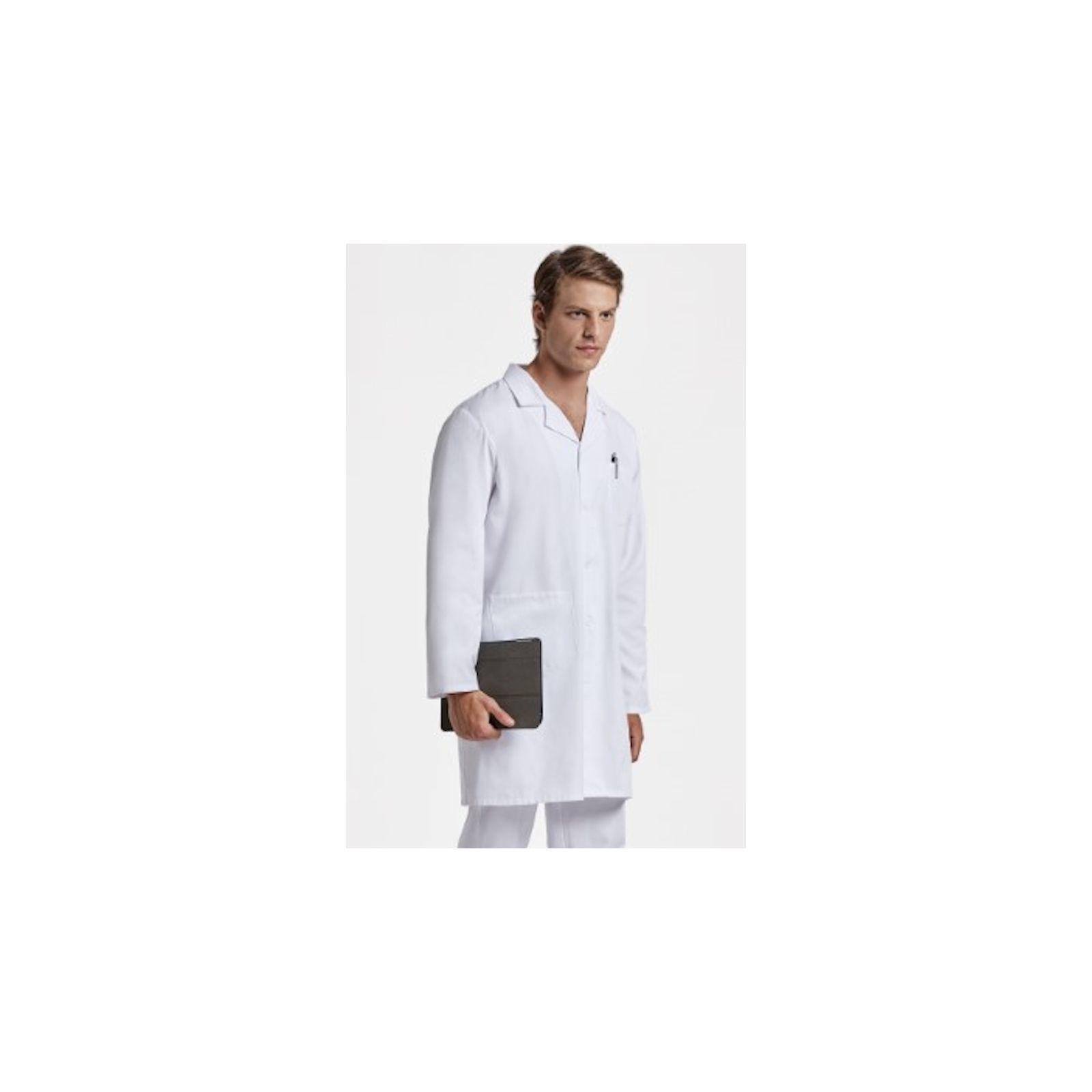 Blouse médicale Blanche Unisexe, manches longues (WALTER) vue modele homme