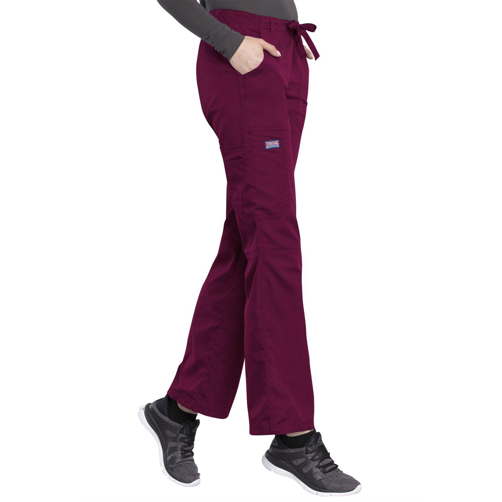 Pantalon médical Femme cordon et élastique, Cherokee Workwear Originals (4020) couleur bordeaux vue gauche
