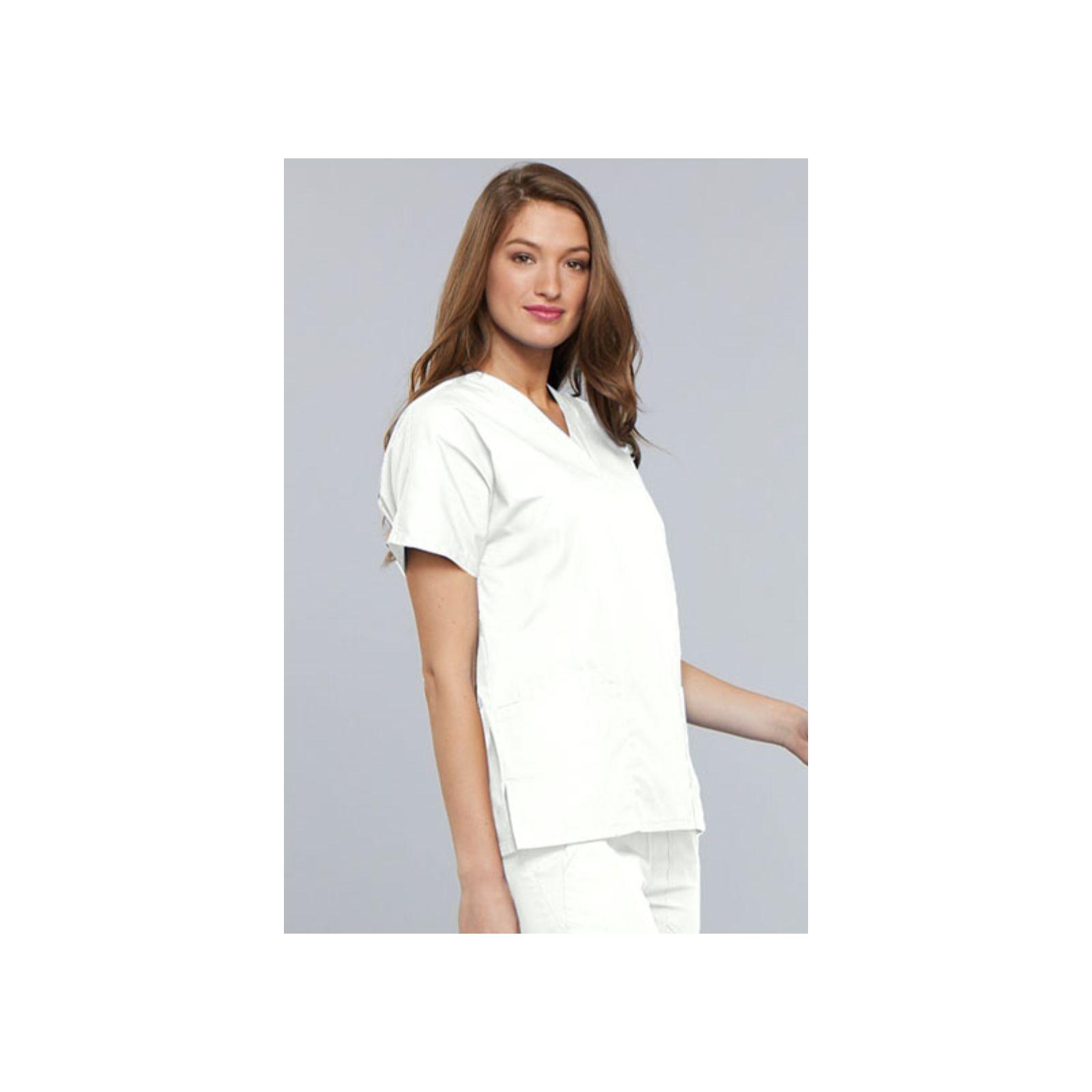 Blouse médicale blanche Unisexe, Lavage 60 degrés (CH12) vue femme coté