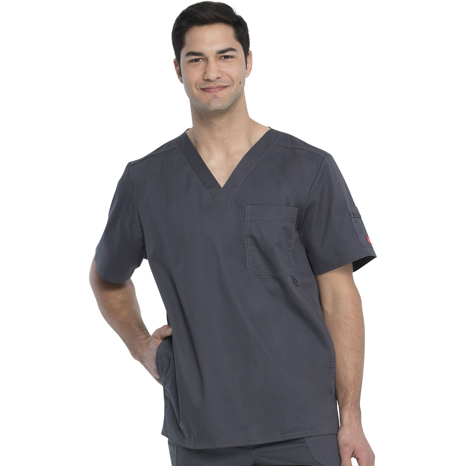 """Blouse médicale Homme Dickies, Collection """"Genflex"""" (81722) gris anthracite face"""