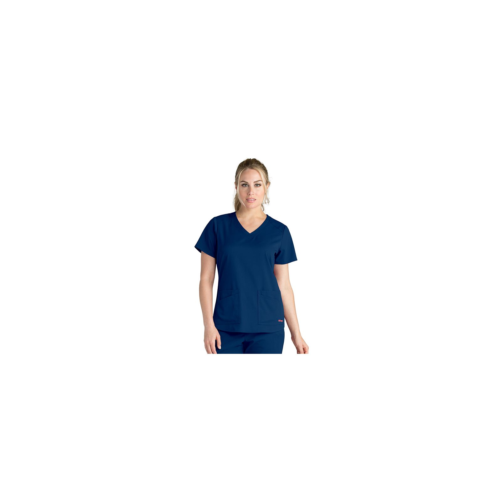 "Blouse médicale femme, collection ""Grey's Anatomy Stretch"" (GRST011-) bleu marine vue face"