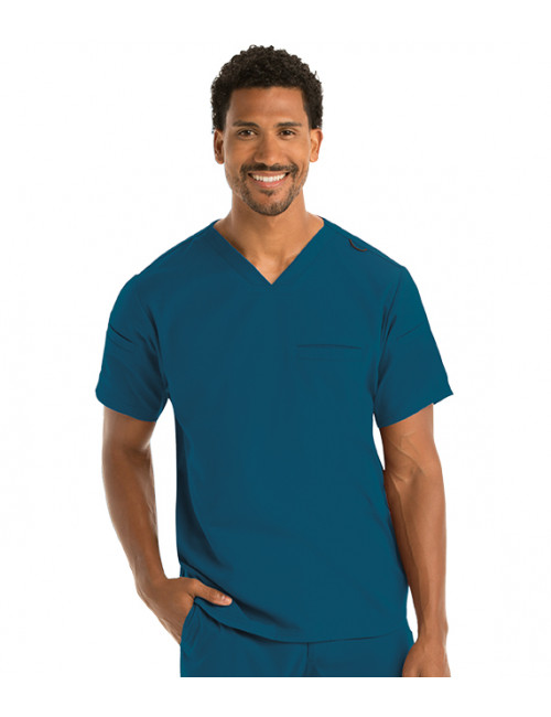 "Blouse médicale homme, collection ""Grey's Anatomy Stretch"" (GRST009-) vert caraibe vue face"