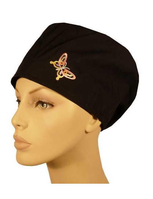 """Calot médical Cheveux Mi-Longs """"Papillon fond noir"""" (218-6240231-BL)"""