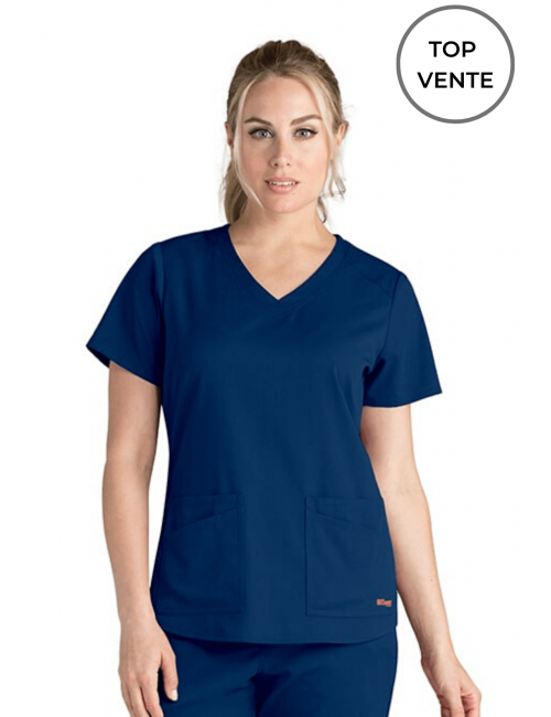 "Blouse médicale femme, collection ""Grey's Anatomy Stretch"" (GRST011-) bleu marine top vente"