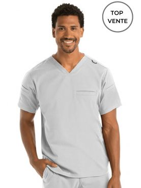 "Blouse médicale homme, collection ""Grey's Anatomy Stretch"" (GRST009-) blanc top vente"
