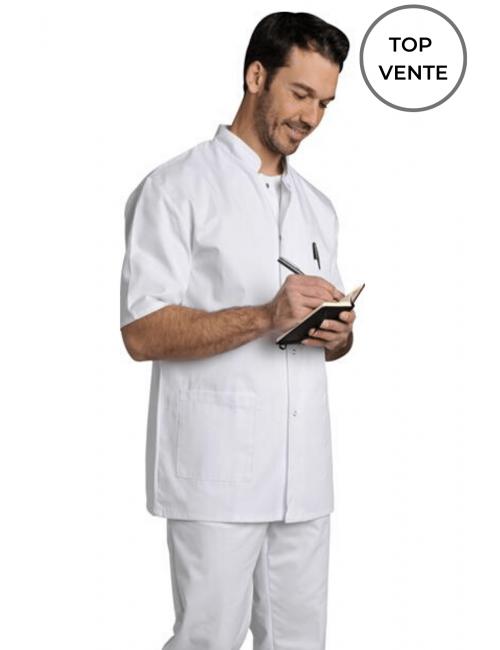 Blouse médicale Homme blanche manches courtes Poly/Coton Denis, SNV (DENCP00000) blanc top vente