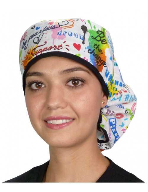 """Calot médical Cheveux Longs """"Graffitis joyeux"""" (815-8819-BL)"""