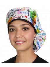 """Calot médical Cheveux Longs """"Graffitis joyeux"""" (815-8819-BL) face"""