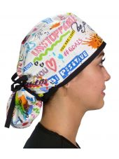 """Calot médical Cheveux Longs """"Graffitis joyeux"""" (815-8819-BL) droite"""