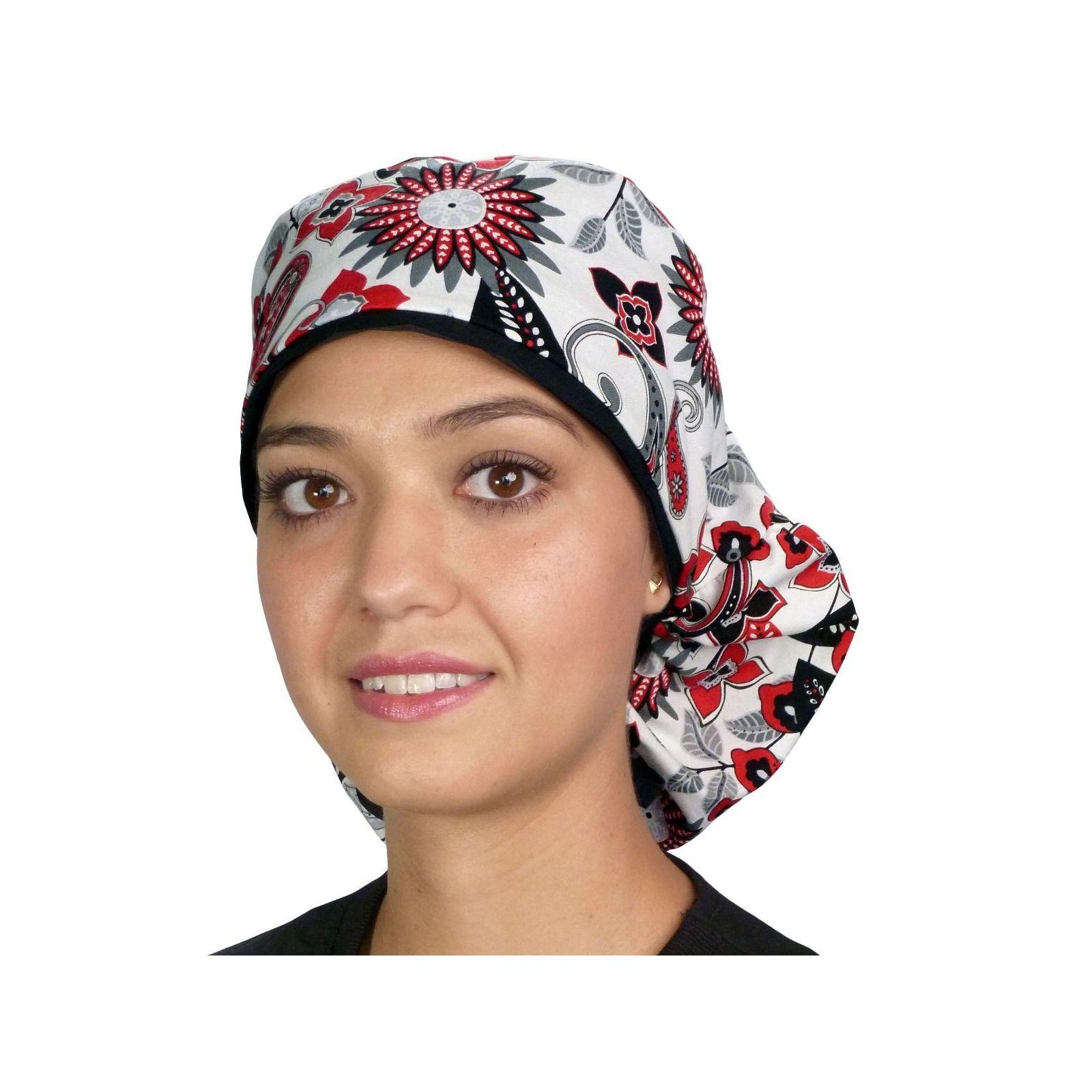 """Calot médical Cheveux Longs """"Cascade de fleurs"""" (815-8820-BL) vue face"""