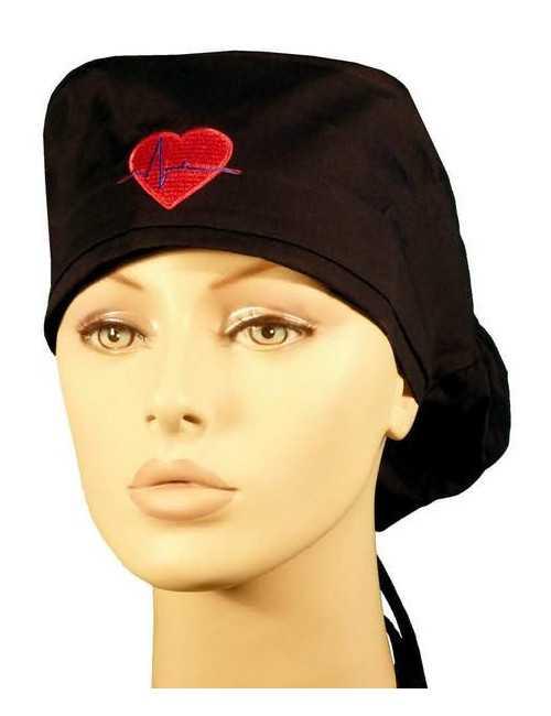 """Calot médical Cheveux Longs """"Coeur"""" (815-695292-BL)"""