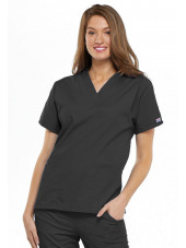 V-neck tunic, two patch pockets Solid colors Cherokee
