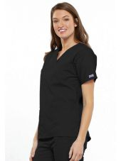 Blouse médicale Femme, 2 poches, Cherokee Workwear Originals (4700) noir gauche