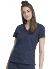 "Blouse Médicale Femme, Dickies, Collection ""GenFlex"" (817455) bleu marine face"