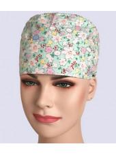 """Calot médical """"Fleurs vertes"""" (209-12011) vue modele"""