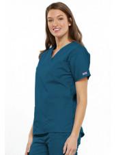 Blouse médicale Femme, 2 poches, Cherokee Workwear Originals (4700) vert caraibe droite