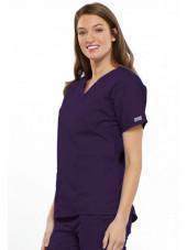 Blouse médicale Femme, 2 poches, Cherokee Workwear Originals (4700) aubergine gauche