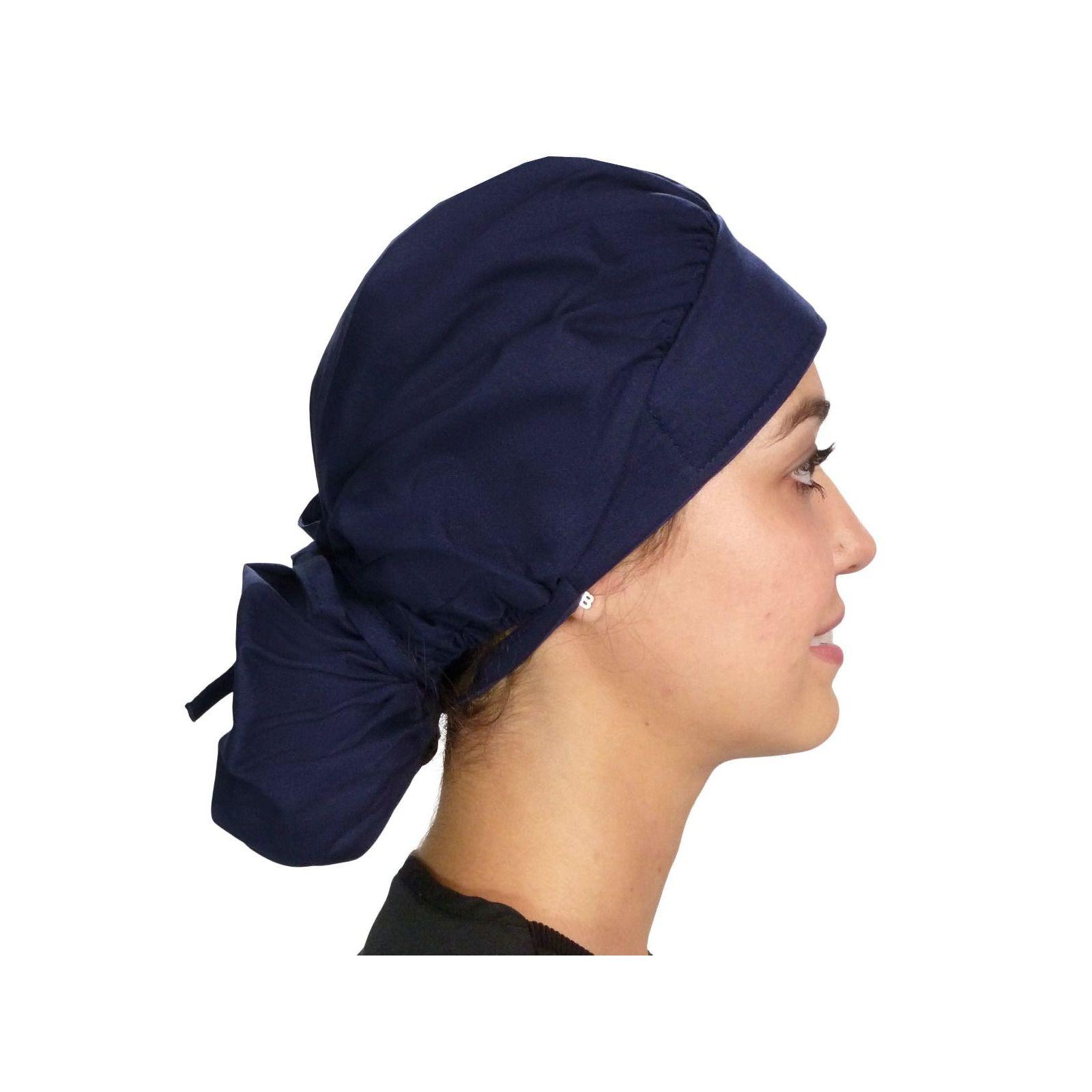 """Calot médical Cheveux Mi-Longs """"Bleu marine"""" (214-1034) vue droite"""