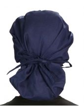 """Calot médical Cheveux Mi-Longs """"Bleu marine"""" (214-1034) vue attaché"""
