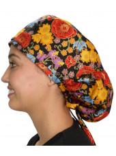 """Calot médical Cheveux Longs """"Automne en fleurs"""" (815-8824) vue gauche"""