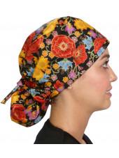 """Calot médical Cheveux Longs """"Automne en fleurs"""" (815-8824) vue droite"""