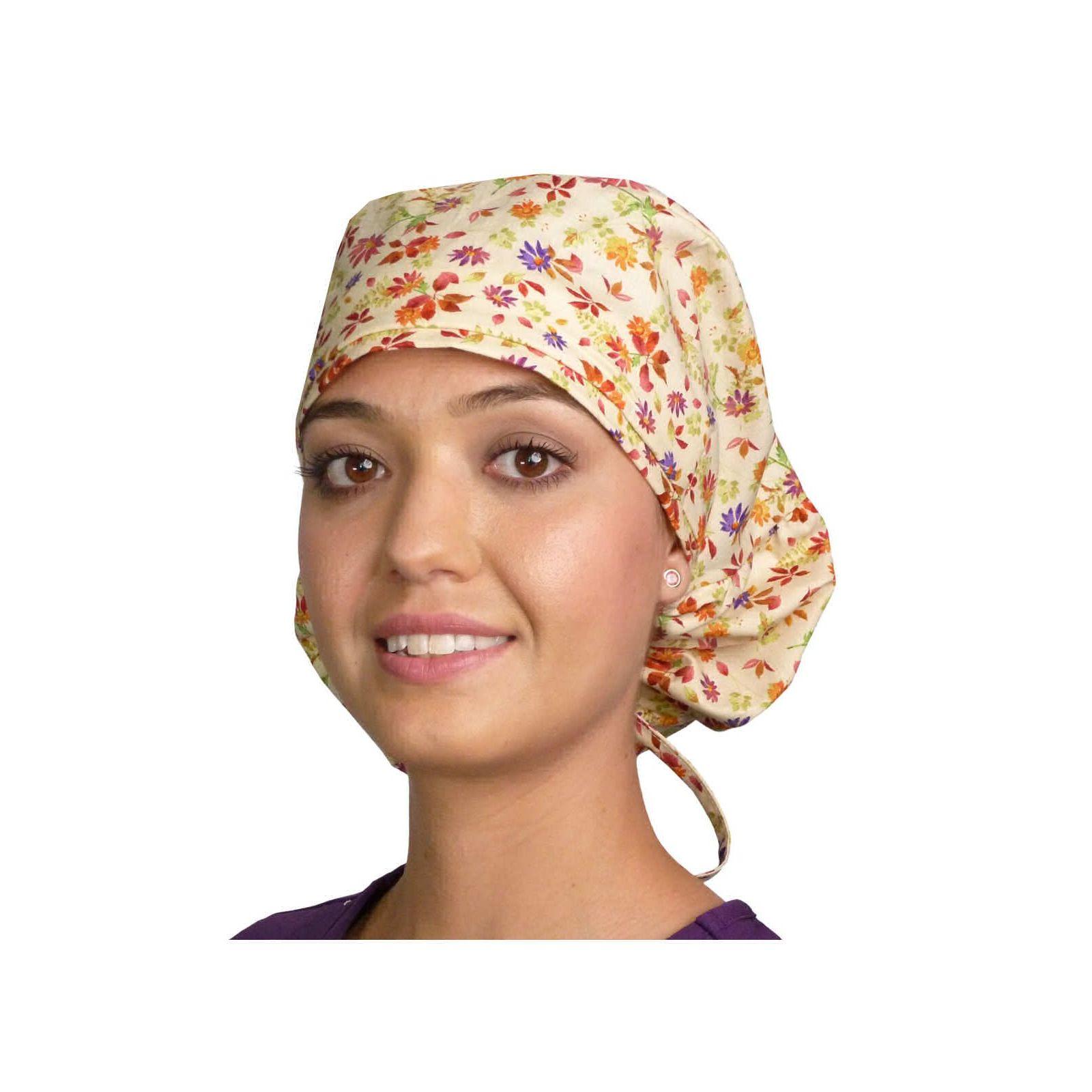 """Calot médical Cheveux Longs """"Fleurs d'Automne"""" (815-8828) vue face"""