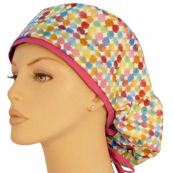 """Calot médical Cheveux Longs """"Confettis"""" (815-8756-HP) vue face"""