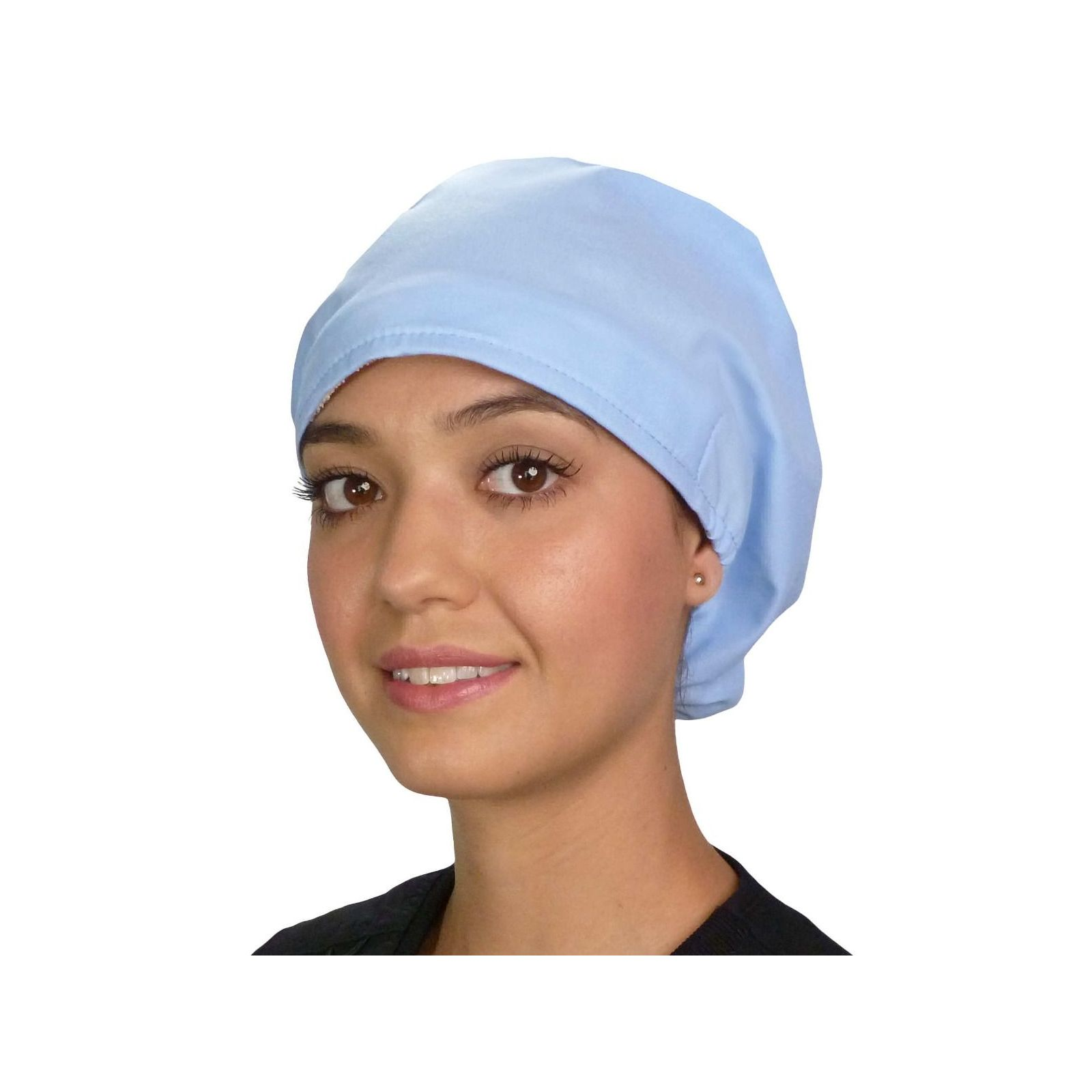 """Calot médical Cheveux Mi-Longs """"Bleu ciel"""" (218-1134) vue face"""