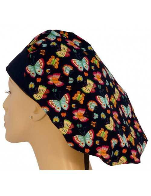 "Medical cap Mid-Long Hair ""Butterflies in color"" (214-8701-BL)"