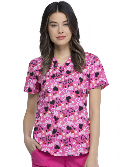 """Woman's Printed Medical Gown """"Pink Hearts"""", Cherokee (CK652)"""