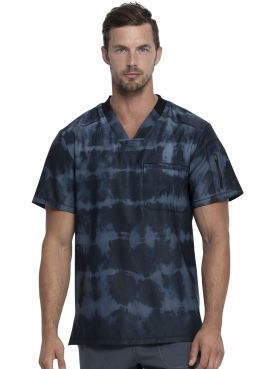 "Men's Medical Blouse ""Grey Stripe"" Print, ""Dynamix"" Collection (DK613)"
