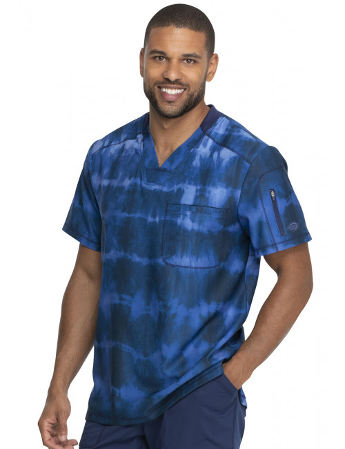 "Men's Medical Blouse ""Blue Stripes"" Print, ""Dynamix"" Collection (DK613)"