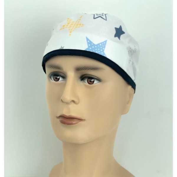 """Calot médical """"Etoiles fond blanc"""" (210-9998) vue face"""