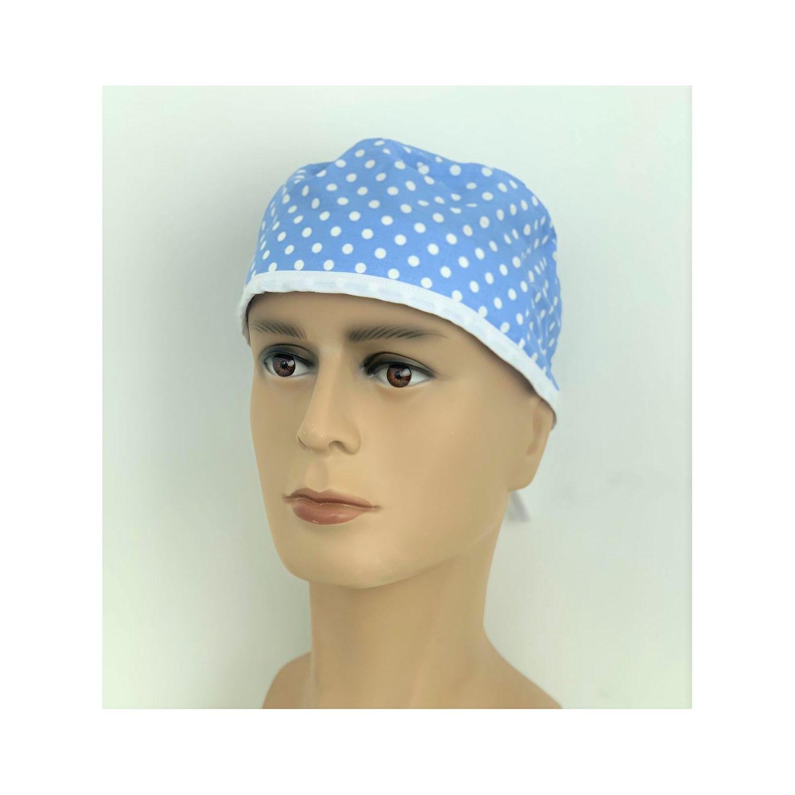 """Calot médical """"Pois fond bleu"""" (210-9996) vue face"""
