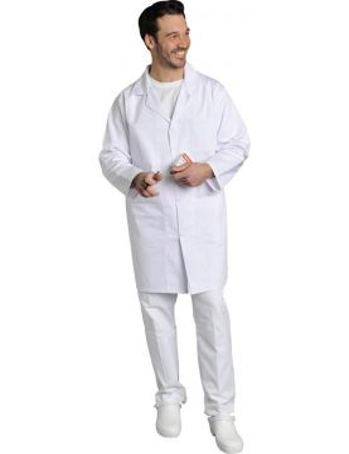 Blouse médicale Homme blanche manches longues Poly/Coton Xavier, SNV (XAVLP00300) vue modele