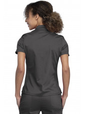 "Blouse médicale Femme Col polo, Cherokee, Collection ""Revolution"" (WW698) couleur gris anthracite vue dos"