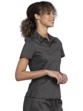 "Blouse médicale Femme Col polo, Cherokee, Collection ""Revolution"" (WW698) couleur gris anthracite vue gauche"
