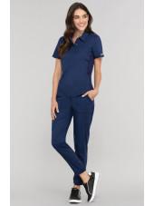 """Blouse médicale Femme Col polo, Cherokee, Collection """"Revolution"""" (WW698) couleur bleu marine vue ensemble"""