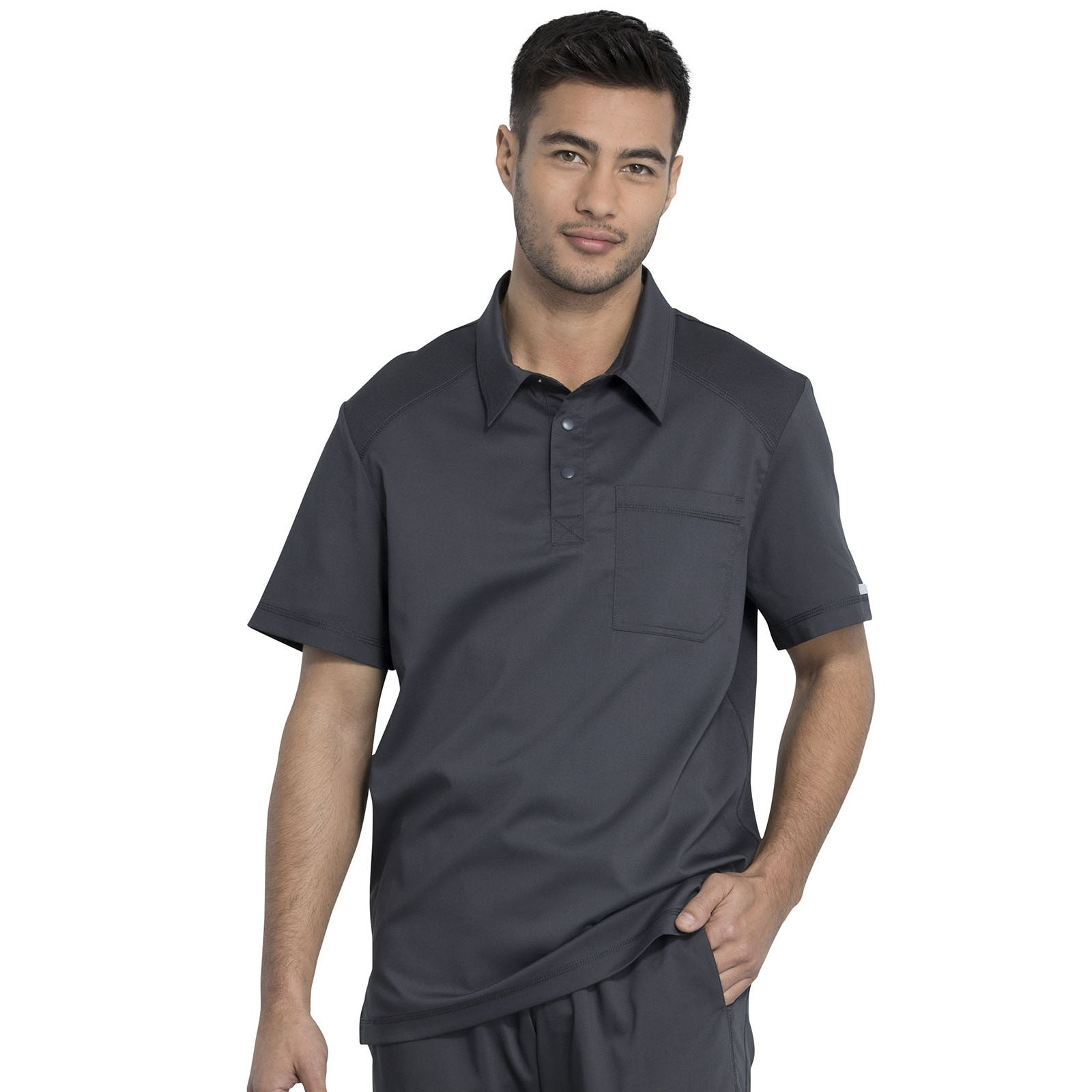 """Blouse médicale Homme Col polo, Cherokee, Collection """"Revolution"""" (WW615) gris anthracite face"""