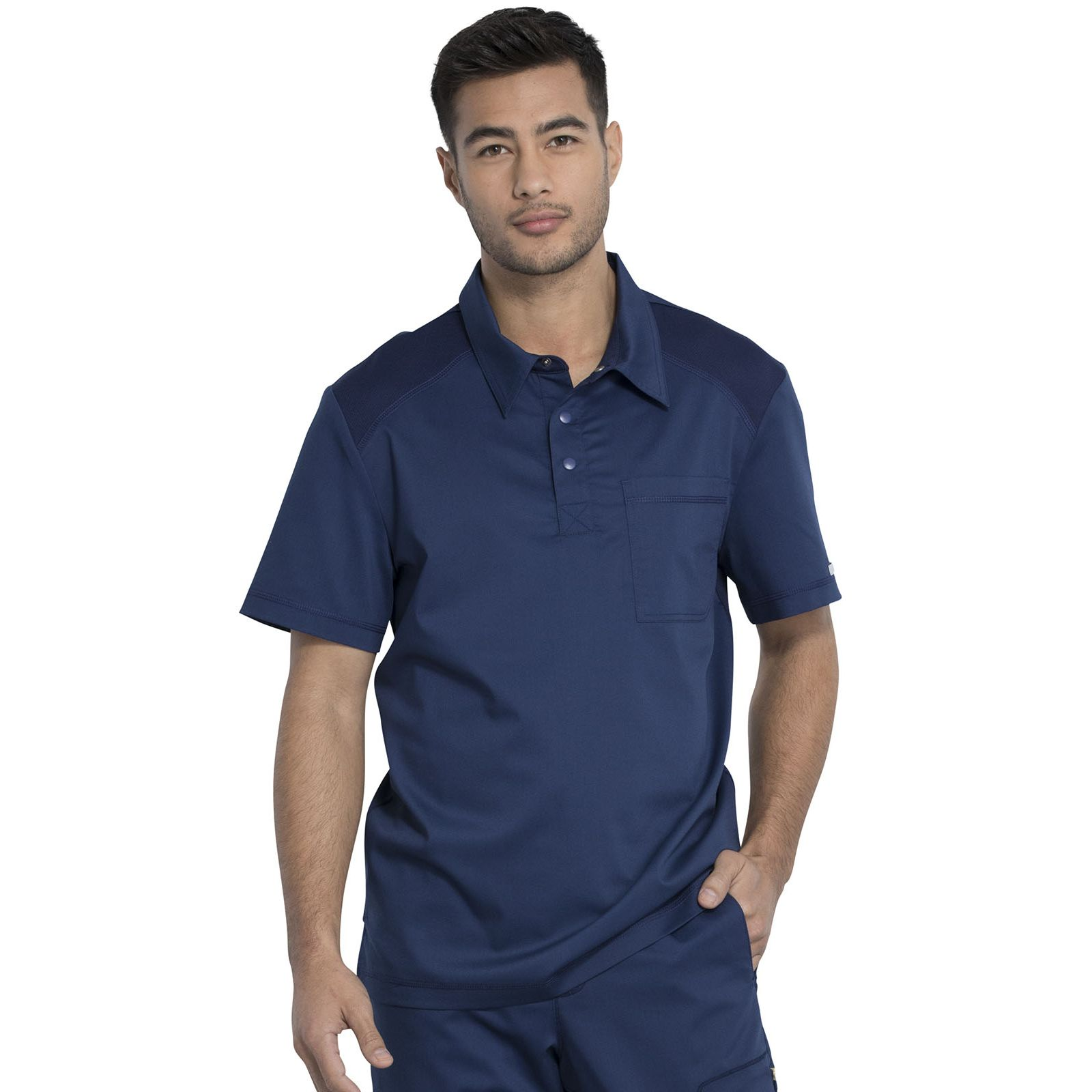 "Blouse médicale Homme Col polo, Cherokee, Collection ""Revolution"" (WW615) bleu marine face"