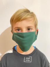 Pack de 5 - Masque Lavable Antimicrobien Adulte et Enfant Vert Catégorie 1 (PR799-HUN) vue enfant face