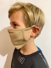 Pack de 5 - Masque Lavable Antimicrobien Adulte et Enfant Beige Catégorie 1 (PR799-KHI) vue enfant coté