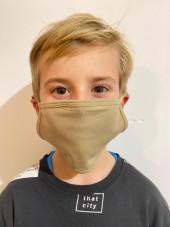 Pack de 5 - Masque Lavable Antimicrobien Adulte et Enfant Beige Catégorie 1 (PR799-KHI) vue enfant face