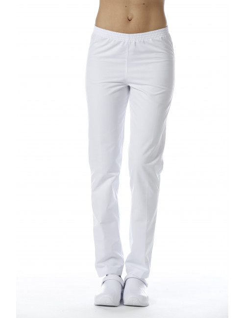 White Medical Pants, Unisex, Elastic waistband, Camille Lavandie (078WHW)