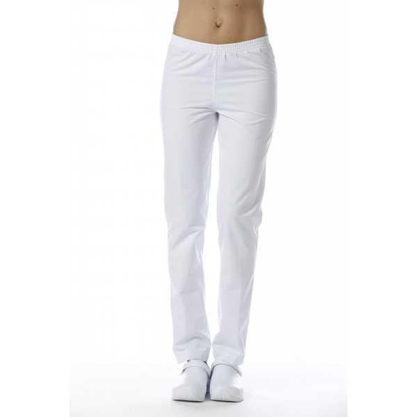 Pantalon Médical Blanc, Unisexe, Taille élastique, Camille Lavandie (078WHW) vue femme