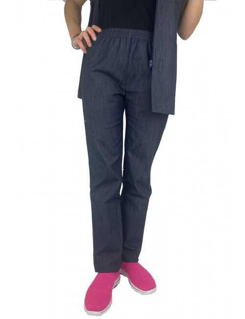 Pantalon Médical Denim, Unisexe, Taille élastique, Camille Lavandie (078DNM) vue face