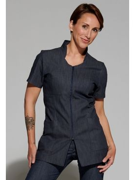 Women's Denim Medical Blouse, Zipper, Camille Lavandie (2617DNM)
